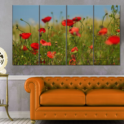 Designart Wild Poppy Flowers in Green Garden Floral Canvas Art Print - 4 Panels
