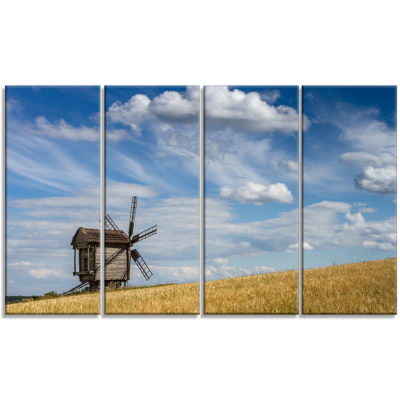 Cloudy Sky and Windmill Summer Day Landscape Canvas Art Print - 4 Panels