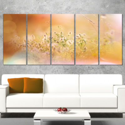 Designart Wild Purple Flowers on Light BackgroundLarge Flower Canvas Art Print - 4 Panels