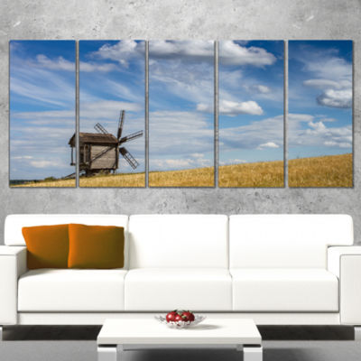 Designart Cloudy Sky and Windmill Summer Day Landscape Wrapped Canvas Art Print - 5 Panels