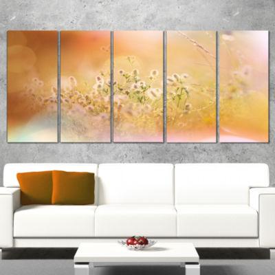 Designart Wild Purple Flowers on Light BackgroundLarge Flower Wrapped Art Print - 5 Panels