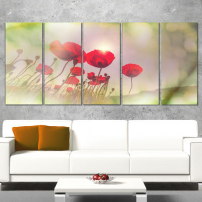 Wild Red Poppy Flowers Floral Canvas Art Print - 4Panels