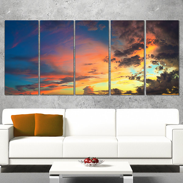 Designart Cloudy Sky at Sunset Panorama Skyline PhotographyCanvas Art - 5 Panels