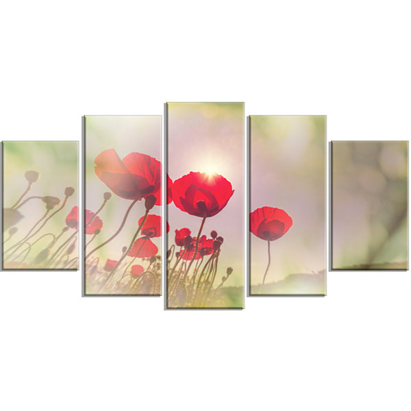 Designart Wild Red Poppy Flowers Floral Wrapped Art Print -5 Panels