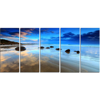 Designart Cloudy Sky Over Moeraki Boulders Seashore Photo Canvas Art Print - 4 Panels