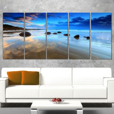 Designart Cloudy Sky Over Moeraki Boulders Seashore Photo Canvas Art Print - 5 Panels