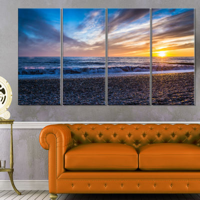 Cloudy Sky with Bright Full Yellow Sun Beach PhotoCanvas Print - 4 Panels