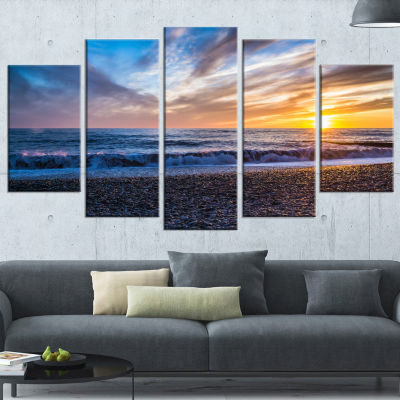 Cloudy Sky with Bright Full Yellow Sun Beach PhotoWrapped Canvas Print - 5 Panels
