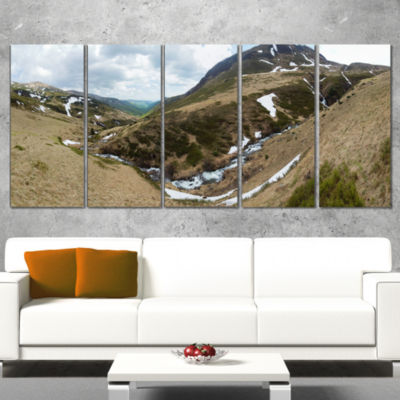 Wild Sprint Mountain Panorama Landscape Artwork Canvas - 4 Panels