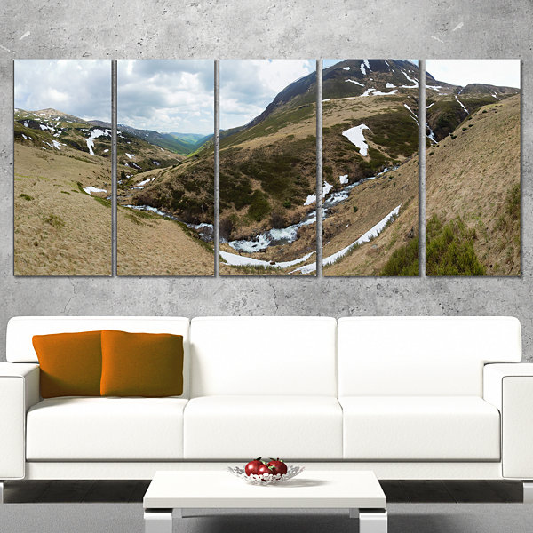 Designart Wild Sprint Mountain Panorama LandscapeArtwork Canvas - 4 Panels