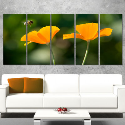 Designart Wild Tulip Flowers in Forest Pasture Floral CanvasArt Print - 4 Panels