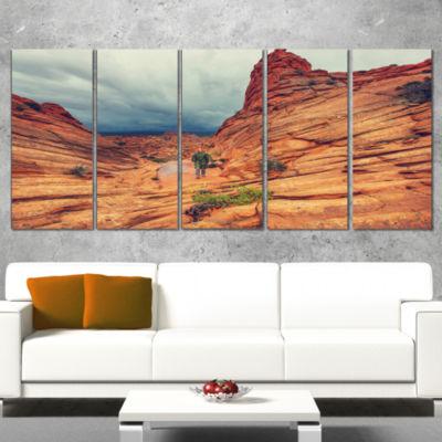 Designart Wild Vermillion Cliffs Utah Oversized Landscape Canvas Art - 5 Panels
