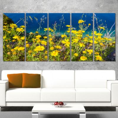 Designart Wild Yellow Flowers Over Sea Coast LargeFlower Wrapped Art Print - 5 Panels