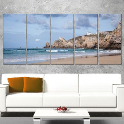 Designart Coastline with Lighthouse Panorama ExtraLarge Seashore Wrapped Canvas Art - 5 Panels