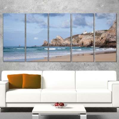 Designart Coastline with Lighthouse Panorama ExtraLarge Seashore Canvas Art - 5 Panels