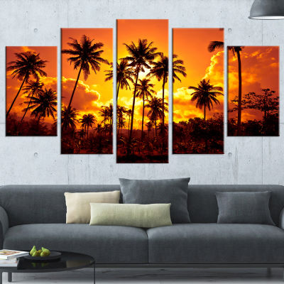 Designart Coconut Palms Against Yellow Sky Landscape Photography Wrapped Canvas Print - 5 Panels