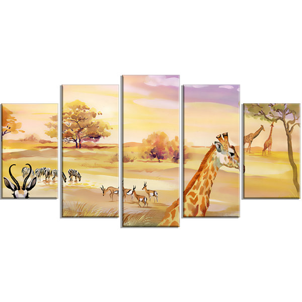Designart Wildlife of Savannah Illustration African WrappedArt Print - 5 Panels