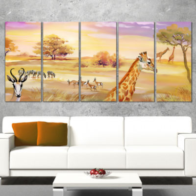 Designart Wildlife of Savannah Illustration African Canvas Art Print - 5 Panels