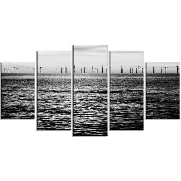 Designart Wind Turbines Black and White LandscapeArtwork Wrapped - 5 Panels