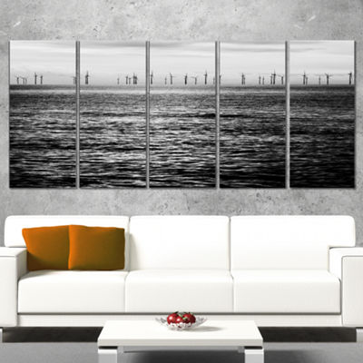 Designart Wind Turbines Black and White LandscapeArtwork Canvas - 5 Panels