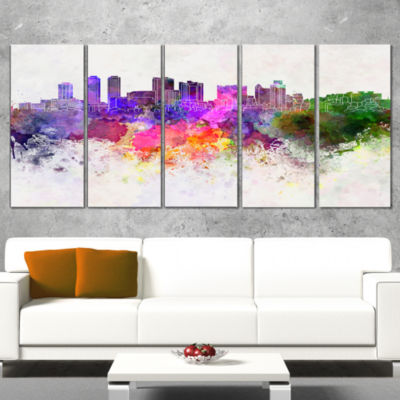 Designart Colombo Skyline Large Cityscape Canvas Artwork Print - 5 Panels