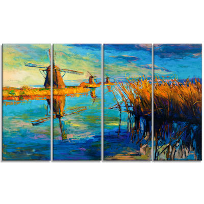 Windmills with Sky and Water Landscape Art Print Canvas - 4 Panels