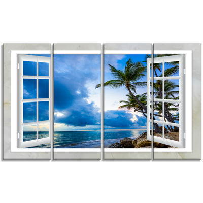 Designart Window Open To Cloudy Blue Sky OversizedLandscapeWall Art Print - 4 Panels