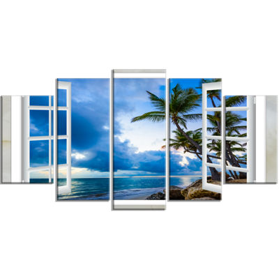 Designart Window Open To Cloudy Blue Sky OversizedLandscapeWrapped Wall Art Print - 5 Panels