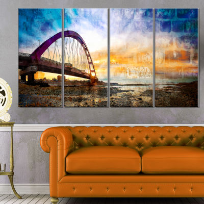 Color Red Bridge Sunset Taiwan Modern Seascape Canvas Artwork - 4 Panels