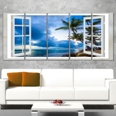 Designart Window Open To Cloudy Blue Sky OversizedLandscapeWall Art Print - 5 Panels