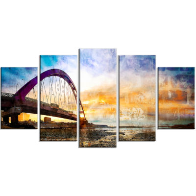 Color Red Bridge Sunset Taiwan Modern Seascape Wrapped Canvas Artwork - 5 Panels