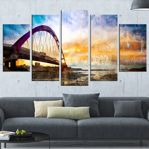 Designart Color Red Bridge Sunset Taiwan Modern Seascape Wrapped Canvas Artwork - 5 Panels