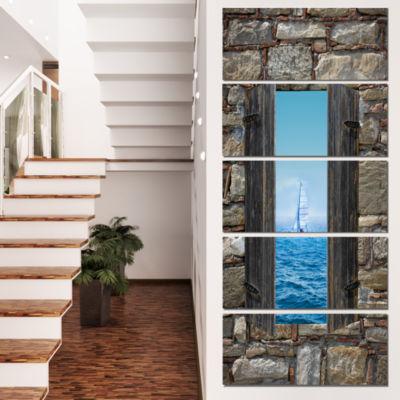 Designart Window Open To Sailing Boat Seascape Canvas Art Print - 4 Panels