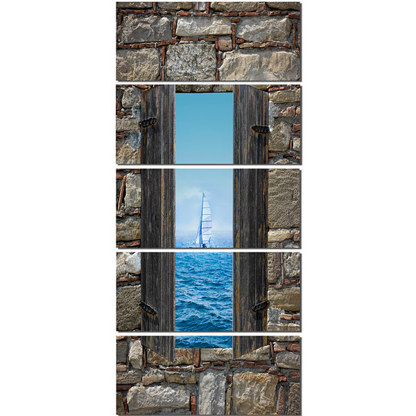 Window Open To Sailing Boat Seascape Canvas Art Print - 5 Panels