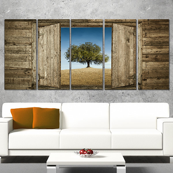Designart Window Open To Solitary Tree Modern Landscape Canvas Art - 4 Panels