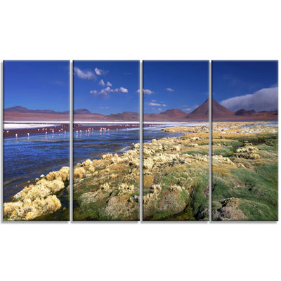 Designart Colorada Lagoon and Pabellon Volcano Oversized Beach Canvas Artwork - 4 Panels