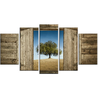 Window Open To Solitary Tree Modern Landscape Wrapped Art - 5 Panels