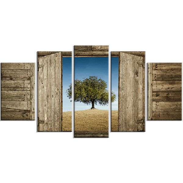 Designart Window Open To Solitary Tree Modern Landscape Wrapped Art - 5 Panels