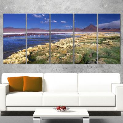 Designart Colorada Lagoon and Pabellon Volcano Oversized Beach Canvas Artwork - 5 Panels