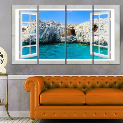 Window Open To Sunny Summer Sea Extra Large Seashore Canvas Art - 4 Panels