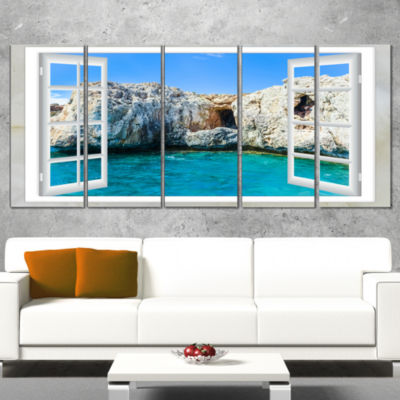 Designart Window Open To Sunny Summer Sea Extra Large Seashore Wrapped Art - 5 Panels