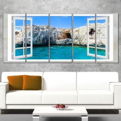 Designart Window Open To Sunny Summer Sea Extra Large Seashore Canvas Art - 5 Panels