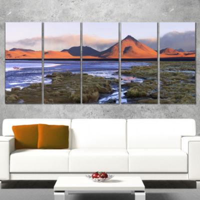 Designart Colorada Lagoon and Volcano Pabellon Landscape Canvas Art Print - 5 Panels