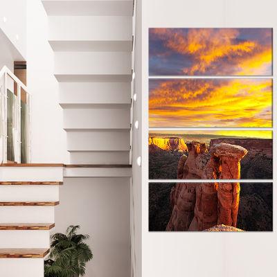 Designart Colorado Monument at Sunset Modern Landscape Canvas Art - 4 Panels
