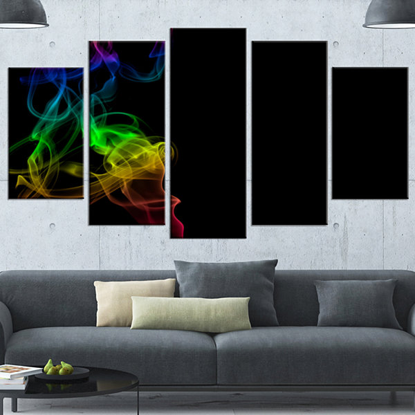 Colorful Abstract Smoke Waves Large Abstract Canvas Wall Art - 4 Panels