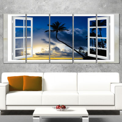 Window To Beach with Coconut Palms Landscape Canvas Art Print - 5 Panels