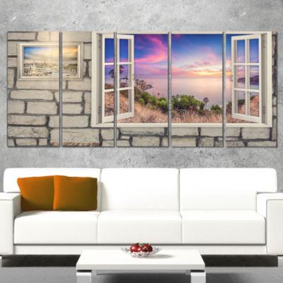 Window To Beautiful Stretch of Land Modern Landscape Wall Art Canvas - 5 Panels