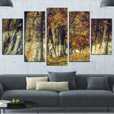 Colorful and Serene Autumn Forest Modern Forest Canvas Art - 4 Panels