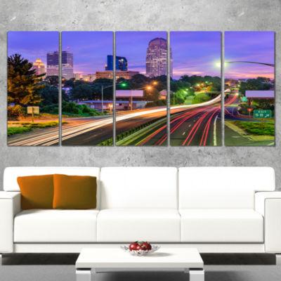 Designart Winston Salem North Carolina Cityscape Canvas Print - 5 Panels