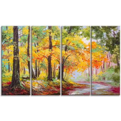Designart Colorful Autumn Forest Landscape Art Print Canvas- 4 Panels